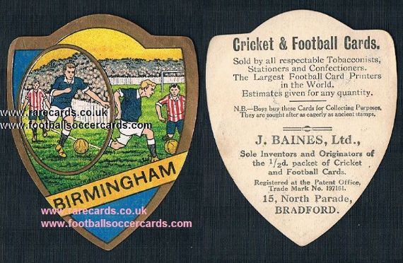 1910 Birmingham City Muntz Street Baines of Bradford shield card